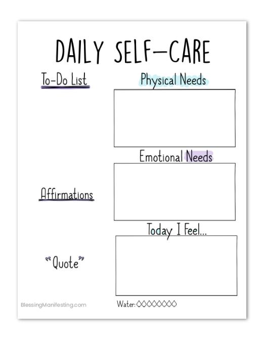 Printable Daily Self Care Worksheet   Blessing Manifesting